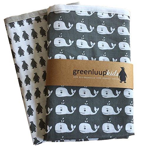 greenluup® kids Bio Baumwolle 120 x 120 Mulltuch Mulltücher Spucktücher Grau Pucktuch Babydecke Spieldecke Stoffwindel Schmusetuch Doppelpack