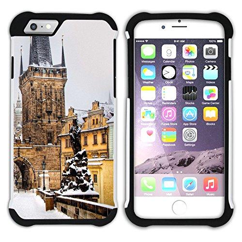 Graphic4You Prag Tschechische Republik Postkarte Aussicht Hart + Weiche Kratzfeste Hülle Case Schale Tasche Schutzhülle für Apple iPhone 6 Plus / 6S Plus Design #26