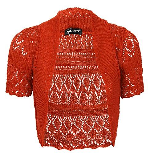 Bolero, da donna, lavorato a maglia, a maniche corte Rust