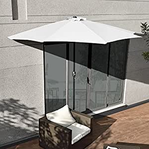 sonnenschirm mit kurbel wei halbrund 300cm gro balkon garten k che. Black Bedroom Furniture Sets. Home Design Ideas
