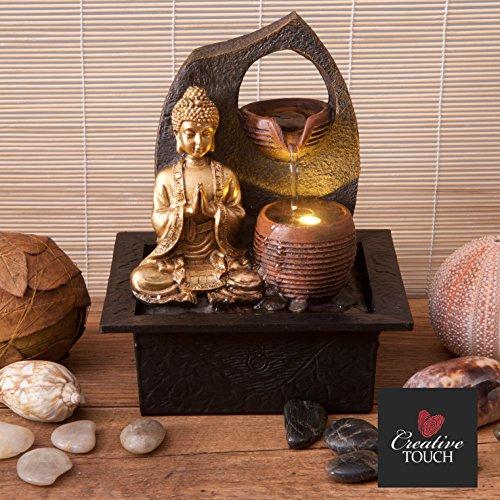 Creative Touch Fountain Edition Goldener Buddha mit 2 Wasserschalen zimmerbrunnen mit LED Licht | Größe 21 * 17,5 * 24 cm