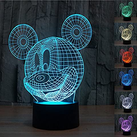 Mickey Mouse LED Lampe 3D (Mickey Mouse Lampe)