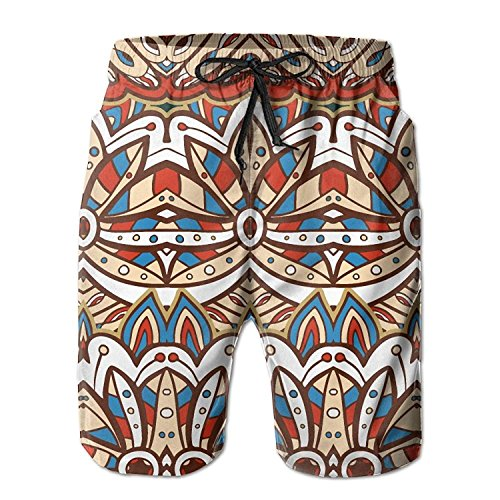 American India Ethnic Aztec Pattern Men's/Boys Casual Swim Trunks Short Elastic Waist Beach Pants with Pockets Large