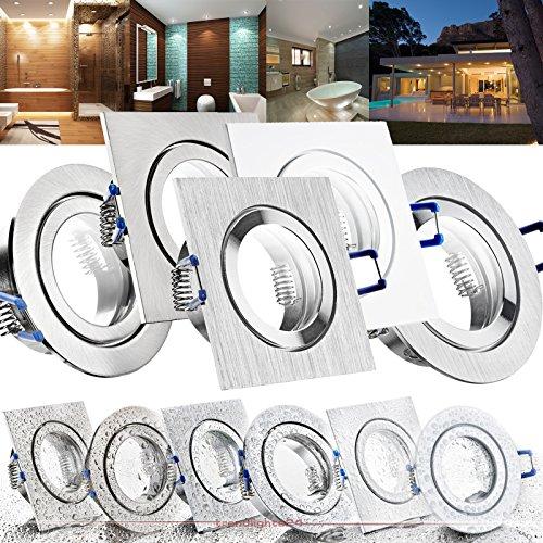 1er Set 230V Decken Einbaustrahler MARE IP44; EDELSTAHL OPTIK gebürstet; eckig; GU10 SMD LED 7,5W = 70W (530 Lumen); DIMMBAR; Warm-Weiß (2700k); Einbautiefe ca. 60 mm; für Bad, Feuchtraum + außen