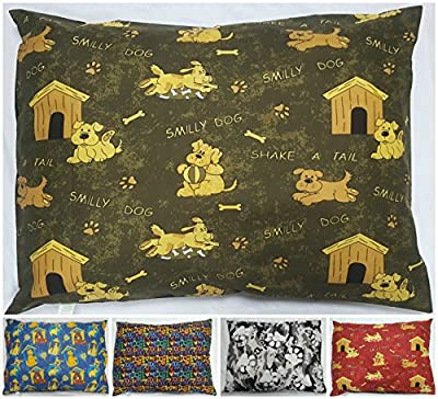 NEW PACK OF 2 DOG Bed Pillow Covers - Washable Covers with Removable ZIP - SIZES: Medium, Large & X-Large - PET CUSHION COVERS ONLY- Random Colors Latest Designs