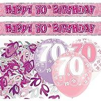 Unique BPWFA-4181 Glitz 70th Birthday Foil Banner Party Decoration Kit, Pink