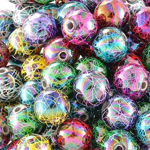 souarts-mixte-acrylique-boules-motif-peint-perles-intercalaires-lot-de-100pcs