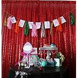 ShinyBeauty 10ftx10ft Pailletten - Hintergrund Rot Schimmern Pailletten - Photo Booth Kulisse f¨¹r Weihnachten Thanksgiving