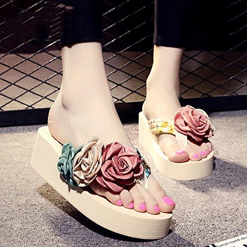 Pente avec sandales à talons hauts à bascule --- 5,5cm Chaussons d'été féminins glissades antidérapantes (noir, beige, marron, bleu foncé, bleu clair, rose, blanc) --- Herringbone fashion sweet Sandal Beige
