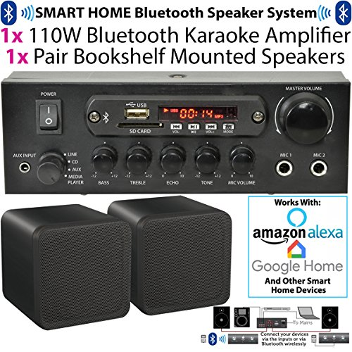 110 W kabellos/Bluetooth Mini-Verstärker & 2 x 80 W schwarz Bücherregal Lautsprecher - Home, Café, Bar, Restaurant Kompaktes Surround Sound HiFi-Set - kompatibel mit Amazon Echo Dot - Cablefinder -