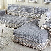Color sólido Felpa La cubierta del sofá,Protector de los muebles para 1 2 3 4 cojines sofá Cubierta del brazo del sofá Guardapolvo Protector de cama para perro Sofá del asiento universal-Gris 73x90cm(29x35inch)