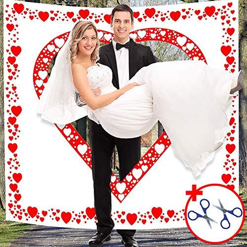 Altdeutsche Hochzeitstradition Laken mit Herzmotiv zum Ausschneiden für Braut und Bräutigam - Der Bräutigam Trägt seine Braut durchs Herz - Hochzeitsherz für das Brautpaar Hochzeit Deko Hochzeitsspiel