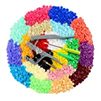 ilauke Snap Buttons Fasteners 20 Colors Poppers with Snap Pliers, 400 Sets