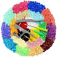 ilauke Snap Pince + 400 PCS Boutons Pressions de T5-12mm Pression Kit de Pince PourT3 T5 T8 en Plastique Multicolores 20 Couleurs+30pcs Sac de Rangement