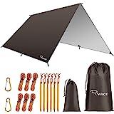 Ryaco Regnskydd för hängmatta, tält etc., presenning i 3 m x 3 m, bärbart solskydd, lätt, vattentätt och vindtätt markskydd f