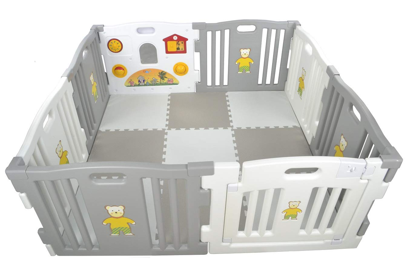 Millhouse Plastic Baby Playpen with Activity Panel with Play Mats Included (Grey & White with Mats) Millhouse Millhouse Plastic Baby Playpen 8 Sides with Activity Panel WITH Grey and White PLAYMATS / 9 Play Mats Included (Individual Size: 49 x 49 x 1 cm / Total Play Mats Size: 148 x 148 x 1 cm) / Suitable age range: 6 - 24 months Playpen with 8 Panels (Including 1 White Door Panel, 1 White Play Panel, 6 Normal Panels - 4 Grey + 2 White) Single Panel Size: 79 x 63 cm / Total Playpen Size: 157 x 157 x 63 cm / Packaging Size: 80 x 41 x 64 cm / PLEASE NOTE: Please note the suction caps will only stick on tile / wooden / laminate flooring and any dust on the floor or suction caps will prevent the suction from working. These are not suitable for sticking on carpet. 2