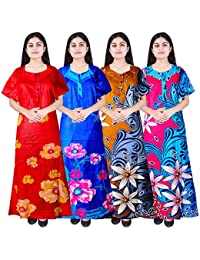 0cbcbf57a4 Silver Organisation Women Cotton Nighty Gown Sleepwear Nightwear Maxi Soft  Night Suit Cotton (Combo of