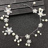 OCEUGS Handgemachte Silber Perle Stirnband Blume Kopfschmuck Braut Tiara Hochzeit Haarschmuck Frauen Haarschmuck -