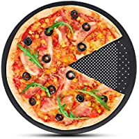 Pizza Pans With Holes 12 inch - Carbon Steel Non Stick Coating Perforated Round Tray Baking for Home Kitchen