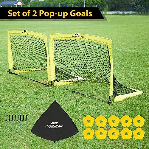 PodiuMax Faltbare Pop-up Fußballtore, 2er Set, langlebig & Stabile Fußballtor Netz mit Tragetasche, gut für alle Altersgruppen Innen/Garten/Im Freien-Training oder Team-Spiel