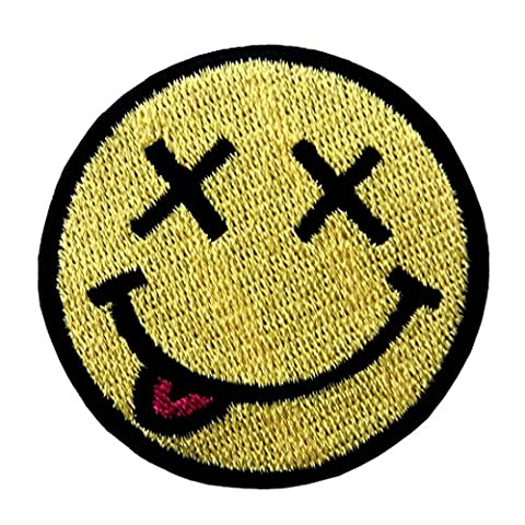Smiley Smile Happy Face Embroidered Badge Iron On Sew On Patch