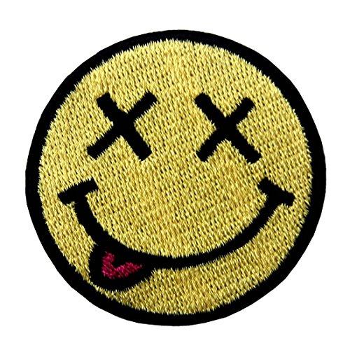 Unser Kostüm Haus Musical - Smiley Lächeln Glückliches Gesicht Stickte Abzeichen Eisen Auf Nähen Auf Flecken