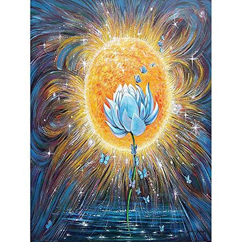 OOFAYWFD Diamant Malerei, 5D Lotus Ölgemälde DIY Mosaik Handwerk Diamant Malerei Home Wandaufkleber Art Deco Diamant Stickerei (30X40 cm),Squaredrill