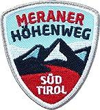 2 x Abzeichen gestickt 55 x 60 mm / Meraner Höhenweg, Südtirol Italien / Wanderweg Dolomiten Alpen Berg-Steigen Wandern / Aufnäher Aufbügler Flicken Sticker Patch / Reiseführer Wanderführer Buch Karte