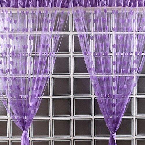 Amlaiworld linea cute cuore nappa stringa tenda porta finestra camera valance 200cm * 100 cm (viola)