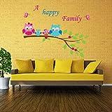 #4: UberLyfe Happy Family Owls Wall Sticker (Wall Covering Area: 82cm x 105cm) - WS-001372