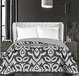 DecoKing 86469 Tagesdecke 170 x 210 cm Schwarz Weiß Bettüberwurf zweiseitig Pflegeleicht Black White Hypnosis Collection Mezmerize