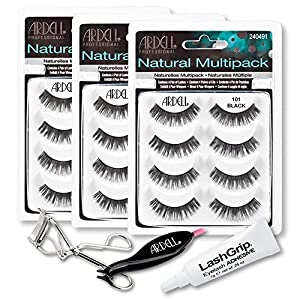 Ardell Fake Eyelashes 101 Value Pack - Natural Multipack 101 (Black, 3-Pack), LashGrip Strip Adhesive, Dual Lash Applicator, Cameo Eyelash Curler - Everything You Need For Perfect False Eyelashes by Ardell