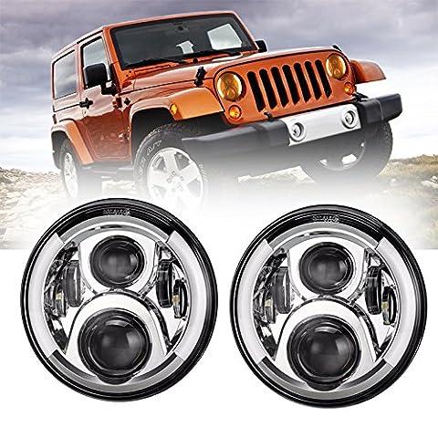 esyauto 17,8cm rund LED-Scheinwerfer 60W Hälfte Halo mit Weiß DRL Bernstein Blinker Angel Eyes Hi/Lo Beam Offroad fahren Scheinwerfer für Jeep Wrangler JK LJ TJ (Paar)