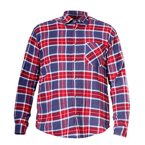 LAHTI PRO L4180104 Herren Flanell-Arbeits Holzfällerhemd, 100 Prozent Baumwolle, kariert - CE/EN 340, Größe XL, Rot mit blau