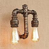 HJZY Loft Retro Lager Factory Restaurant Bar Treppen Dekoration Lampen Wasserpfeifen Wandlampe Vintage Industrial Steampunk Wandlampe Rustikale Kupfer Wasserpfeife Nachttisch Wandleuchte