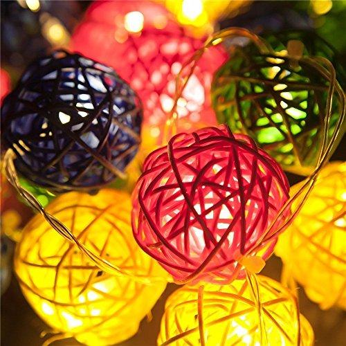 Samoleus rattan ball luci colore, 4.8m 20 led 2 modi luci della stringa solare impermeabile, catene luminose per esterni (colore)