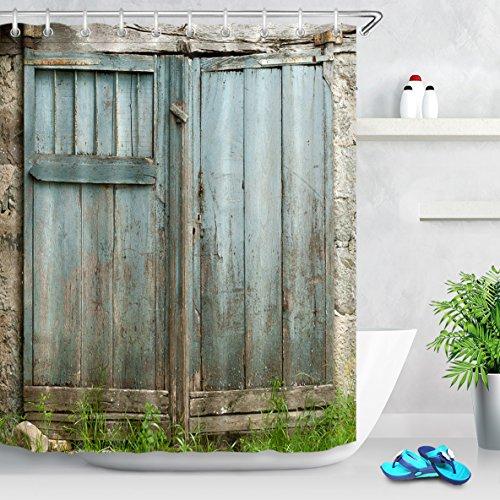 LB Personalizar Estilo rural azul claro de la puerta de madera Cortina de la ducha,Impermeable Resistente al moho Tejido de poliéster Cortinas de baño para baño, 180X180cm, 12 anillos