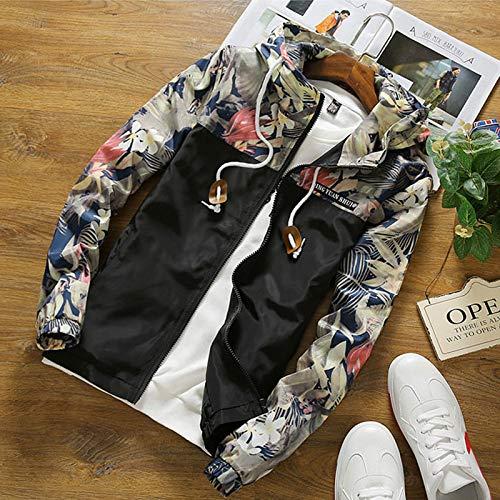 XIEPEI Herrenjacke Größe mit Kapuze floral Camouflage Jacke Herrenbekleidung Schwarz 5XL