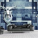 BZDHWWH Moderne 3D Tapeten Geometrische Mosaik Elch Kopf Fototapete Wandbilder Wohnzimmer Schlafzimmer Seidentapete Für Weihnachten,210 Cm×150 Cm