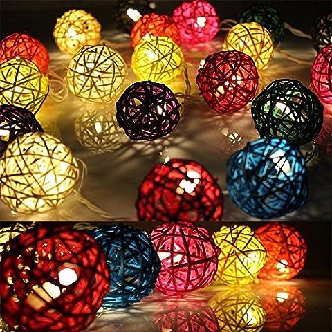 Dailyart Warm White Led Fairy lights,10 Leds Natural Multi color Rattan Balls string lights starry lights Indoor decoration lights--- Battery