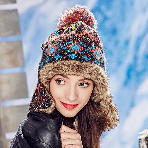 Kenmont Winter Women Ladies Bomber Hats Aviator Trapper Cap Hand Knitted