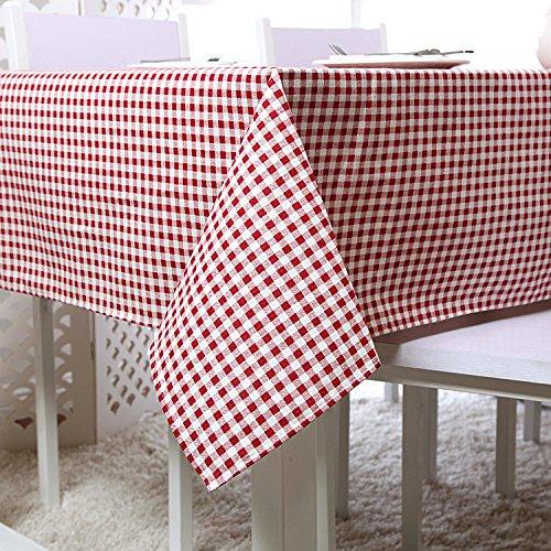 Coton et lin Grille rouge et blanche Toile de table Multifonctions Serviette de couverture , 90x90cm
