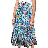 Villavivi Maxi Falda de verano vintage floral estampada para mujer y niña