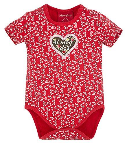 BONDI Body ´I mog di!´, Blümchendruck rot 86 Tracht Baby Mädchen Artikel-Nr.85812