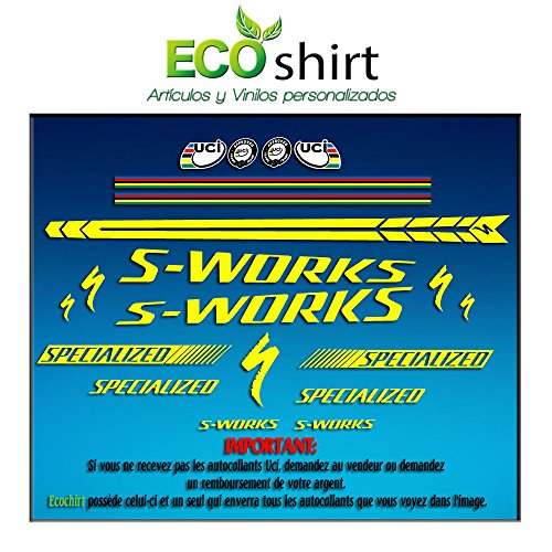 Ecoshirt IX-MXS7-3Q4F Sticker Stickers Bild Frame S-Works Sworks Am25 Aufkleber Decals Adesivi Bike BTT MTB Cycle, Gelb