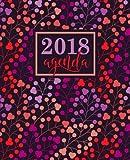 Agenda: 2018 Agenda settimanale italiano : 19x23cm : Motivo floreale corallo, lavanda, viola e pesca: Volume 10