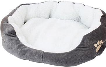 Uesae Hundebett Hundebett Höhle Katzenbett Fleece Rund Oder Oval Form Bohrmulden-Super Warm Weich Bequem für Katzen und Kleine Hunde