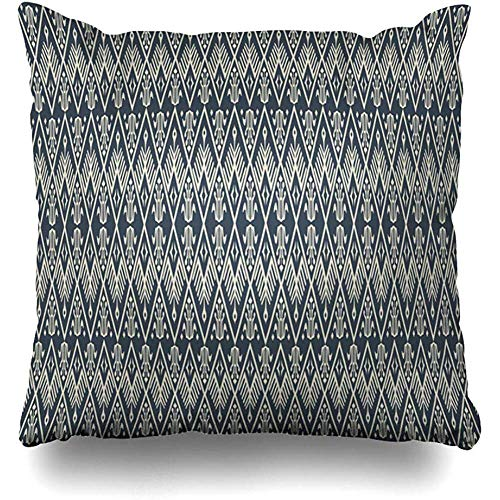 KJDFH Kissenbezug,Traditional Tribal Ethnic Gray Thai Art Batik Fabric Abstract Square Decorative Pillow Case 18 x 18 inch Zippered Pillow Cover Bedroom Living Room -