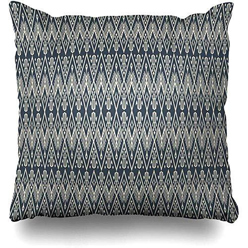 KJDFH Kissenbezug,Traditional Tribal Ethnic Gray Thai Art Batik Fabric Abstract Square Decorative Pillow Case 18 x 18 inch Zippered Pillow Cover Bedroom Living Room Thai-batik