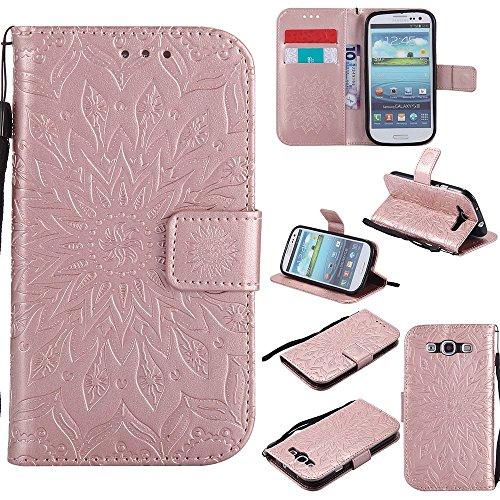 laxy S3 Neo Hülle, Dfly Premium Slim PU Leder Mandala Blume prägung Muster Flip Hülle Bookstyle Stand Slot Schutzhülle Tasche Wallet Case für Samsung Galaxy S3 / S3 Neo, Rosen-Gold (Samsung S3 Case)